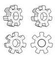 four wire-frame gears vector image