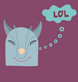 funny hand-drawn blue goat with a letering vector image
