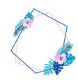 geometric summer wreath with tropical palm flower vector image