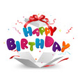 happy birthday out of the box with confetti vector image vector image