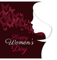 happy womens day girl silhouette vector image vector image