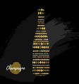 holiday greeting postcard with champagne bottle vector image
