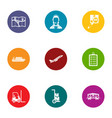 movement icons set flat style vector image
