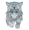 native american girl with wolf headdress vector image vector image