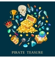 Pirate Treasure Isometric Icons Set vector image vector image