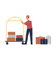 porter man character with luggage trolley flat vector image vector image