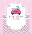 rabbit girl in pink car vector image vector image