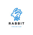 Rabbit hare line outline monoline logo icon