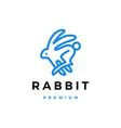 rabbit hare line outline monoline logo icon vector image vector image
