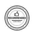recommended icon line label vector image vector image