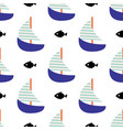 sailboat and fish seamless child pattern in vector image vector image