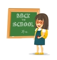 Schoolgirl with backpack near blackboard vector image vector image