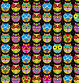 Seamless pattern with bright colored owl on a vector image