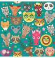 Set of funny animals muzzle seamless pattern Teal vector image vector image