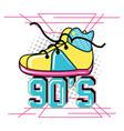 shoe tennis of nineties retro vector image vector image
