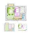 Sketch of design interior apartment hand drawn vector image vector image