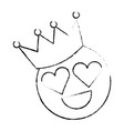 smile emoticon hearts shape eyes with crown vector image