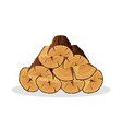 stack of firewood materials for lumber industry vector image vector image