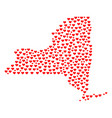 valentine mosaic map of new york state vector image