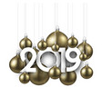 white festive 2019 new year card with gold vector image vector image