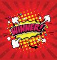 winner comic speech bubble vector image vector image