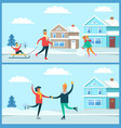wintertime activities nature vector image vector image
