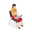 woman character with laptop isolated vector image vector image