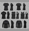 women shirt templates with black t-shirts and polo vector image