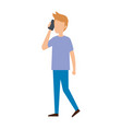 young man calling with smartphone character vector image