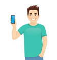young man showing phone vector image