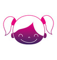 silhouette happy girl head with two tails hair vector image