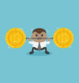 african businessman raises a bar with bitcoin sign vector image vector image
