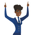 african stewardess standing with raised arms up vector image vector image