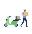 bearded man wearing blue shirt carry pizza box vector image vector image