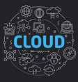 black line flat circle cloud vector image vector image