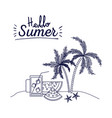 blue silhouette poster of hello summer with vector image vector image