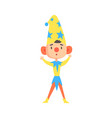boy in a clown medieval costume colorful cartoon vector image