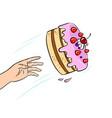 cake is thrown pop art vector image vector image