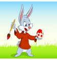 cartoon easter rabbit paint the egg vector image