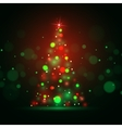 Christmas shining background with xmas tree lights vector image