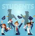 concept cartoon happy students vector image vector image