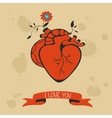 Concept love card with heart blooming vector image vector image