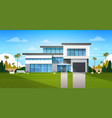 cottage house exterior with backyard real estate vector image