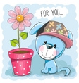 Dog with flower vector image vector image