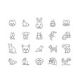 domestic animals line icons signs set vector image vector image