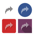 dotted icon right curved arrow in four vector image vector image