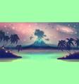 fantasy landscape with blue volcano eruption vector image