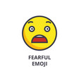 fearful emoji line icon sign vector image vector image