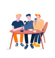 friends company male characters online messaging vector image