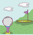 golf play game with ball and flag vector image vector image